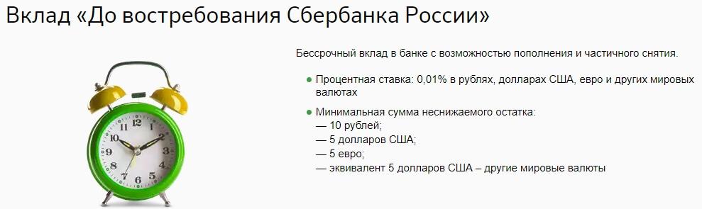 вклад до востребования сбербанка россии проценты