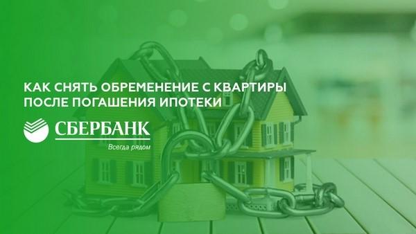 процедура снятия обременения по ипотеке в сбербанке