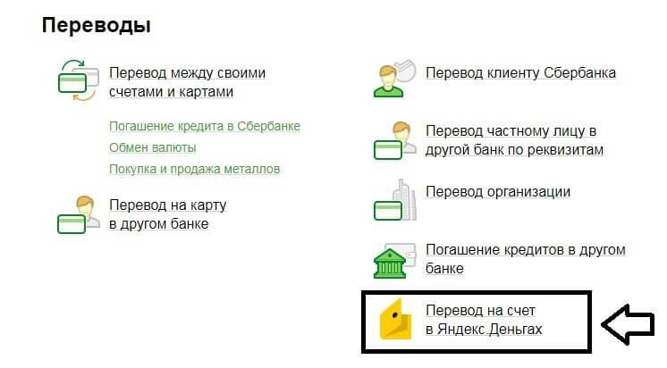 как оплатить яндекс деньги через сбербанк онлайн